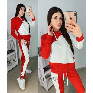 GUCCI Fashionable Women Casual Long Sleeve Top Pants Two-Piece Red