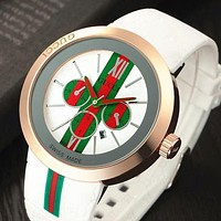 """GUCCI"" Popular Classic Woman Men Personality Watch Movement Watches Couple WristWatch White I"