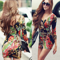 2013 Women's Mini Dress Long Sleeve Tunic Tops T-shirt shirt V-neck Package hip