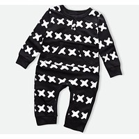 Baby Girls Clothes Baby Boys Jumpsuits Cross pattern Print Newborn Rompers Winter Infant Coveralls