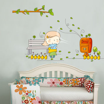 Wall stickers and lovely little girl children room letter of household adornment wall stickers on the wall SM6