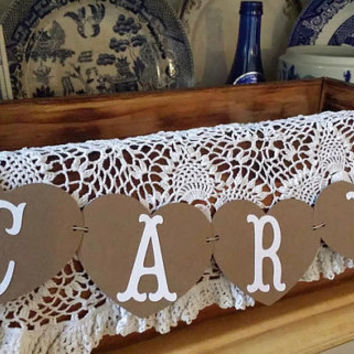 Mini Cards Banner, Heart Mini Cards Banner, Rustic Cards Banner, Kraft Rustic Wedding Mini Banner