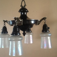 Antique Vintage Victorian Pan Chandelier Brass Accents  Irridescent  Shades 1920s