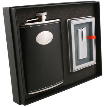 Visol Eclipse Z Black Leather 8oz Deluxe Flask & Lighter Gift Set