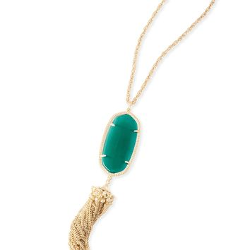 Kendra Scott Rayne Emerald Cat's Eye Gold Necklace with Tassel