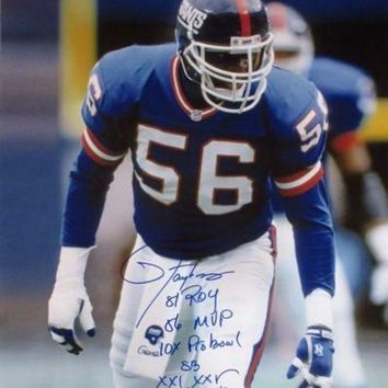 LMFONY Lawrence Taylor Signed Autographed Glossy 16x20 Photo New York Giants w/ Lifetime Stats (ASI COA)