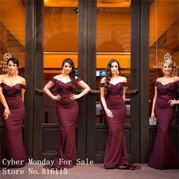 New Design V-Neck Off the Shoulder Mermaid Bridesmaid Dresses Fashion Burgundy Color Lace Long Bridesmaid Dress Party Gowns
