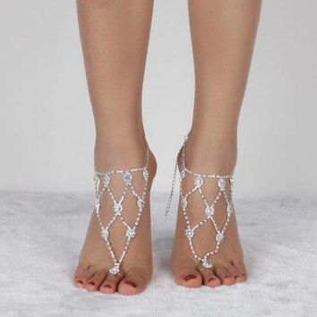 Tiered Rhinestone Anklets - Silver