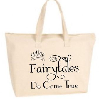 Fairytales Do Come True Large Tote Bag with zipper closure - Bride to Be, Newlywed, Bridal, Wedding, Shower, Bachelorette Party Gift