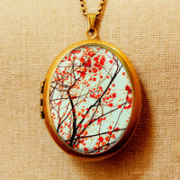 Photo locket photo pendant art locket Red leaves autumn photography - A Smattering - Fine Art Photo Locket Necklace