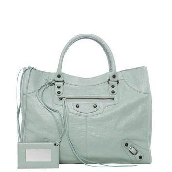 ONETOW balenciaga classic monday mint green leather satchel 2