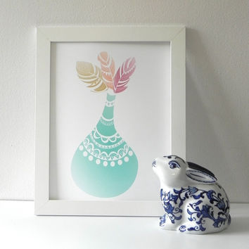 Feather Art Print. Feathers in Turquoise Vase