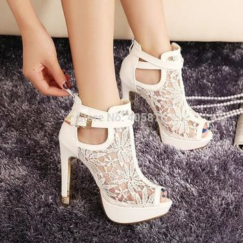 2015 New New Lace Women Platform Pums Sandals White Mesh Black High Heels Peep Toe Sho