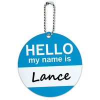 Lance Hello My Name Is Round ID Card Luggage Tag