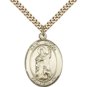 "Saint Drogo Medal For Men - Gold Filled Necklace On 24"" Chain - 30 Day Money ... 617759985641"