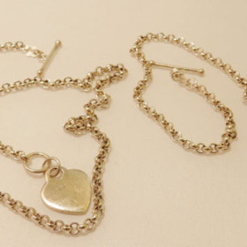Sterling Silver Toggle Heart Necklace and Bracelet Jewelry Set