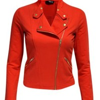 Jane Norman Loop Biker Jacket- Red