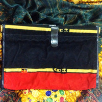 80's Vintage Roberta di Camerino, Ambassador, red, navy, and beige velvet clutch purse, makeup, cosmetic pouch with golden R logo motif.