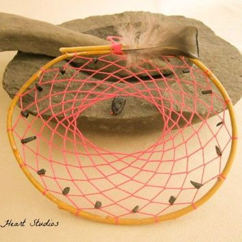 Coral willow dream catcher - black onyx stones - large - natural - Native American style