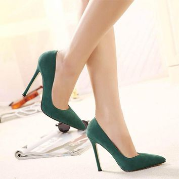 2017 New Hot Flock Single Pumps Pointed Toe Women Shoes Green Red Black Pink Thin Heel Frosted High Heels Shoes Plus Size ZK35