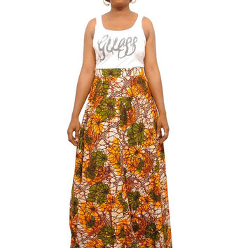 African Print Maxi Skirt - African Clothing - Ankara Clothing - Wax Print Skirt