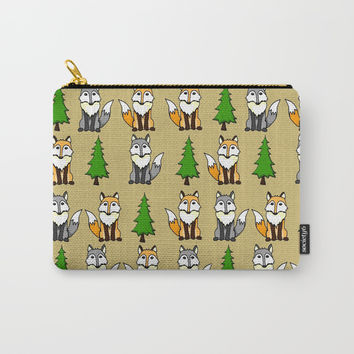 Fox and Wolf Pattern Carry-All Pouch by Mallory Marrs