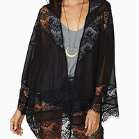 Black Lace Kimono Cardigan/Womens Black Lace Blouse/Plus Size Womens Cover Up