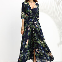 Navy Floral Print 3/4 Sleeve Drawstring Button Dress