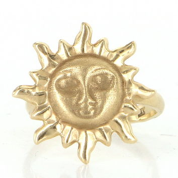Vintage Sun Face Cocktail Ring 14 Karat Yellow Gold Estate Fine Jewelry Sz 6
