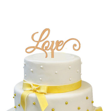 LOVE Cake Topper Wooden Rustic Wedding Topper Wood Wedding Cake Topper
