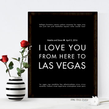 LAS VEGAS personalized wedding date art print, bride groom gift idea