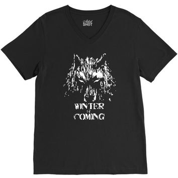 game of thrones direwolf winter is coming V-Neck Tee