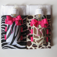 Personalized Animal Print Baby Gift - Baby Bottle Swaddle & Coordinating Burp Cloth