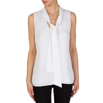 Michael Kors White Tie Neck Silk Top