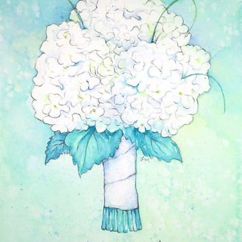 CUSTOM Wedding Bouquet Portrait - Unique Bridal Shower Gift - Original Watercolor Painting - First Anniversary Paper