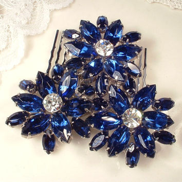 Hair Comb or Sash Brooch, Bridal Sapphire Navy Blue Rhinestone Large Silver Flower Pin or Head Piece, Marquise Clear Crystal Vintage Wedding