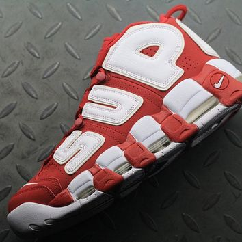qiyif Nike Air More Uptempo Supreme x 902290-700 For Women Men Running Sport Sneakers Red