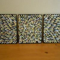 3 Panel Painting Peach Aboriginal Inspired by Acires on Etsy