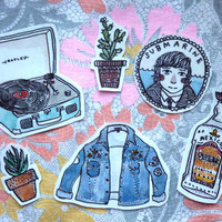Summertime pack of 16 stickers - Denim jacket, record player, submarine, cactus