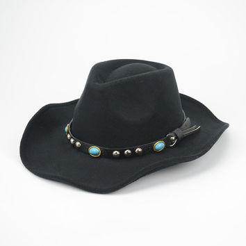 New Western Men Cowboy Hats Retro Style Cool Fashion Autumn Winter Fedoras Bowler Felt Hat [H100]