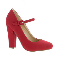 Puffy Red by Shoe Republic, Red PU Retro Mary-Jane High Heel Dress Pump w Block Heel, Women's Shoes
