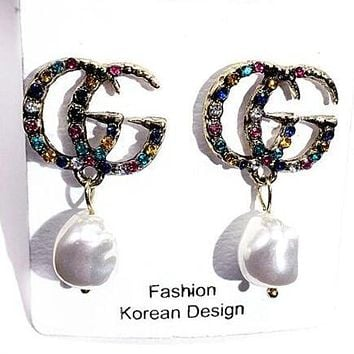GUCCI S925 Silver Needle Trending Women Stylish Colorful Diamond Pearl Pendant Earrings Accessories Jewelry