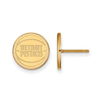 NBA Pistons 14k Yellow Gold Plated Silver SM Disc Post Earrings