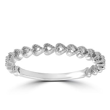 14K White Gold Heart Shape Stackable Diamond Wedding Band