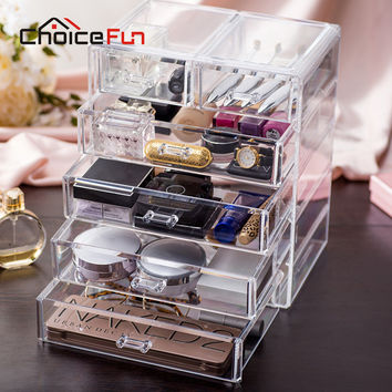 CHOICEFUN Best Selling Large Jewelry Box Drawers Acrylic Cosmetic Organizer Glossy Makeup Organizer Drawers Christmas SF-1549-6