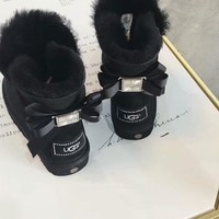 UGG 2018 winter new trend bow and velvet warm flat snow boots