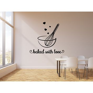 Vinyl Wall Decal Baked With Love Lettering Food Kitchen Restaurant Stickers Mural (g728)