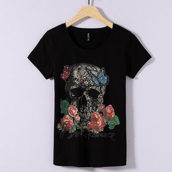 2017 Women Summer Letter Skull Print Fashion Tops Diamond Bling T Shirt Woman O-Neck Short Sleeve Plus Size M-3XL t-shirt 72362