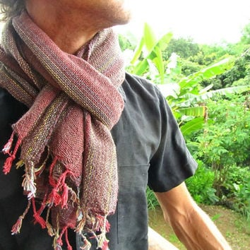 Men's Hand Woven Cotton Scarf / Stylish Rustic Boho Mens Shawl