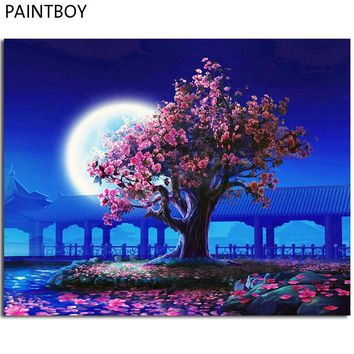 PAINTBOY Framed Night Landscape DIY Painting By Numbers Pictures Coloring By Numbers On Canvas Home Decor Wall Art